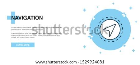 Navigation icon, banner outline template concept. Navigation line illustration