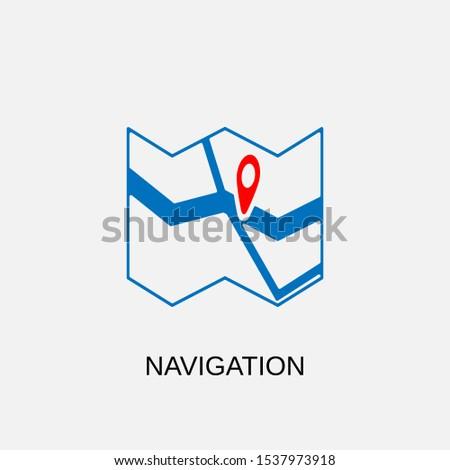 Navigation icon. Navigation symbol. Flat design. Stock - Vector illustration.