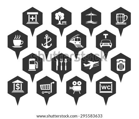 navigation icon set black and