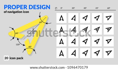 Navigation icon set proper design for map and route navigation in mobile app and web. Various types of arrow sign line and fill. Icon pack of vector map explorer isolated and rotated for navigators