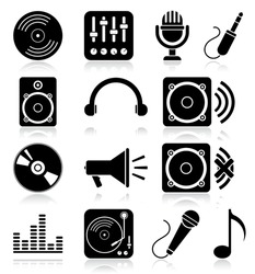 Navigation icon set. Vector illustration of different music web icons