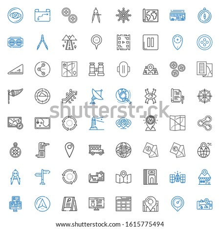 navigation icons set. Collection of navigation with gps, placeholder, location, web, website, menu, navigator, satellite, divider, map. Editable and scalable navigation icons.