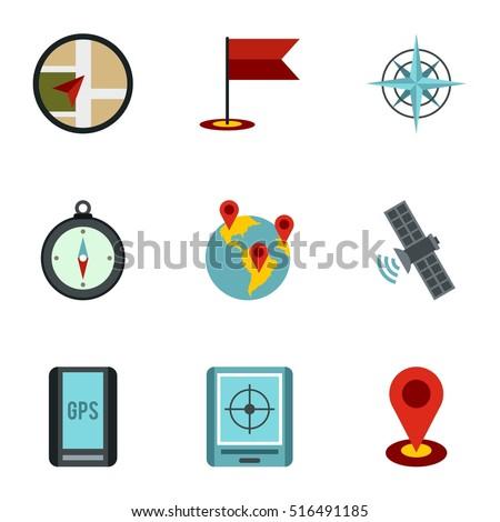 Navigation icons set. Flat illustration of 9 navigation vector icons for web