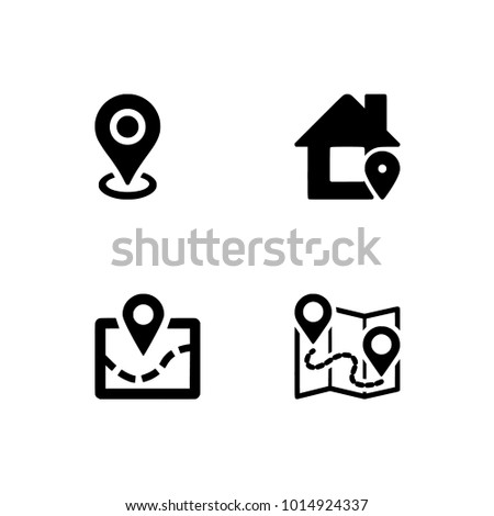 Navigation icons set icon EPS 10 vector format, black & white icons. Transparent background.
