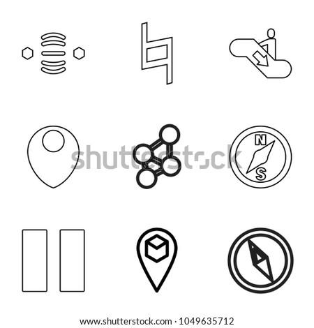 navigation icons set of 9