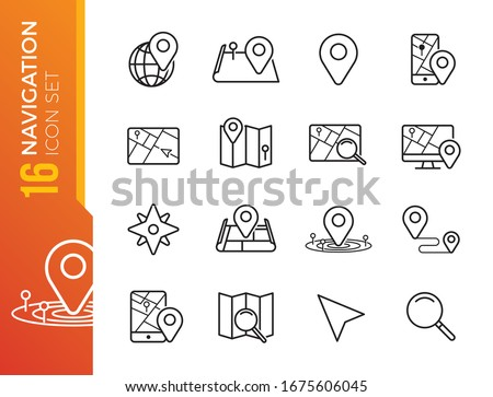 Navigation, Location and Map Line Vector Icons Set. Contains Map with a Pin, Route map, Navigator, Direction and more. Editable Stroke.
