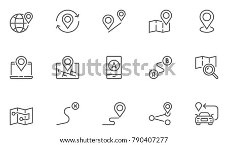 Navigation, Location and Map Line Vector Icons Set. Contains Map with a Pin, Route map, Navigator, Direction and more. Editable Stroke. 48x48 Pixel Perfect.