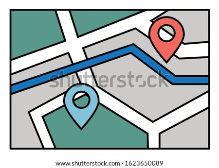 Navigation map for mobile phone application or computer app. Starting point and destination of route. System of finding easy and fast ways in new city. Touristic navigator, vector in flat style