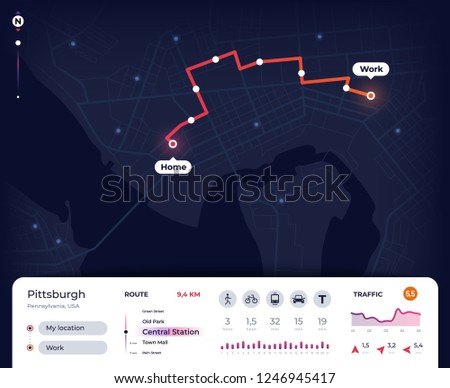 Navigation map. Gps city navigator ui with mapping route, tracking street plan. Roadmap app vector design