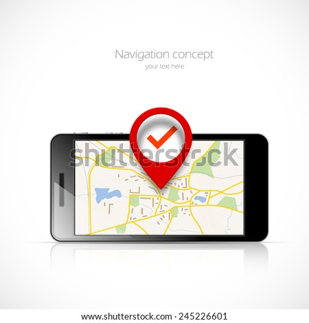 Navigation map in phone and red pin pointer