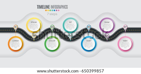 Navigation map infographic 7 steps timeline concept. Winding road. Vector illustration.