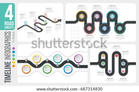 Navigation map 6 steps timeline infographic concepts. 4 winding roads. Vector illustration set