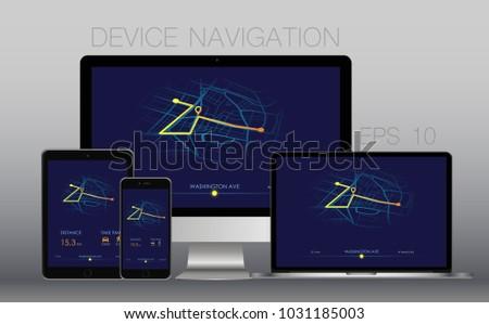 Navigation on screen. Vector illustration.