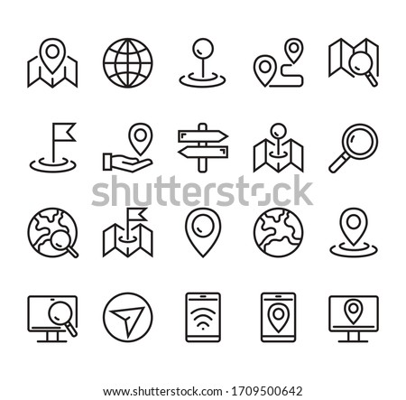 Navigation road location destination line icon isolated simple set. Vector graphic design concept ストックフォト ©