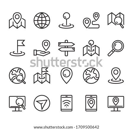 Navigation road location destination line icon isolated simple set. Vector graphic design concept ストックフォト ©