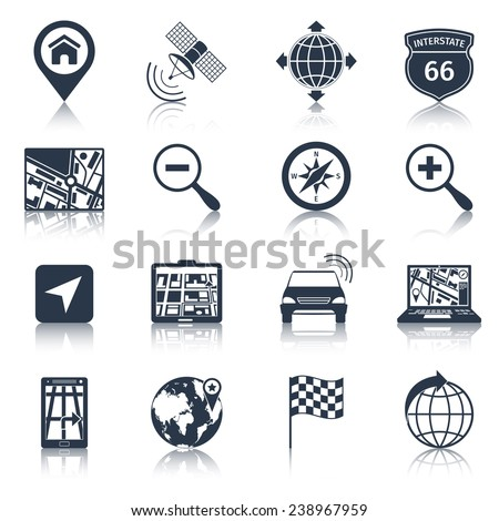 Navigation road traffic city drive icons black set isolated vector illustration