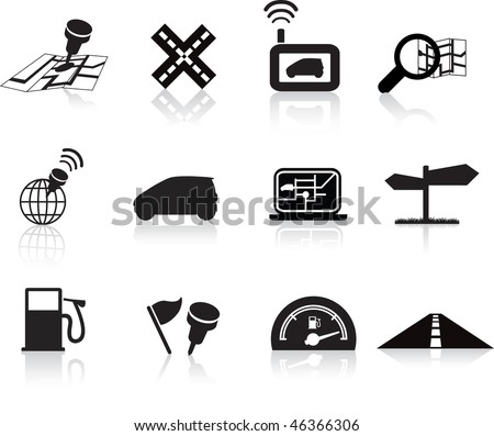 navigation road travel collection of icons silhouette  set