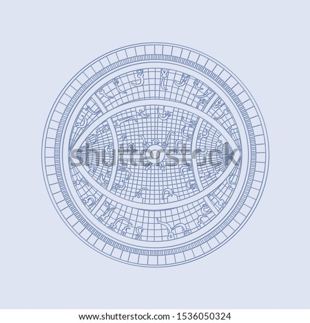 Navigation tool.Celestial sphere. Astronomical coordinate system. Contour drawing.