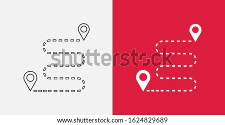 Navigation vector icon. GPS navigation icon. Distance Travelling Roadway. Outline and filled icons set ストックフォト ©