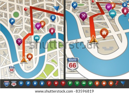 Navigational Map with Icons. Vector Illustration.