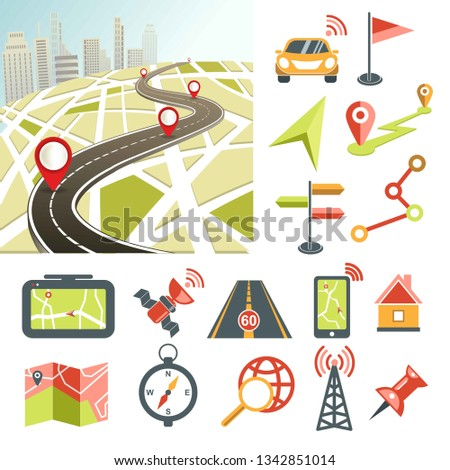 Navigator app and navigation map road and direction navigative symbols vector car and flag location and and track tablet and satellite highway and smartphone house and timer Internet connection