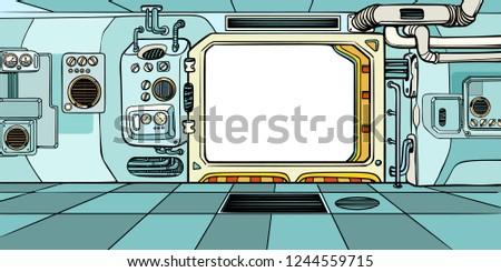 Navigator cabin of the spacecraft. Pop art retro vector illustration kitsch vintage