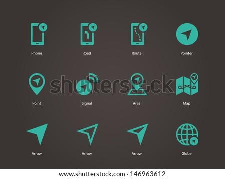 Navigator icons. Vector illustration.