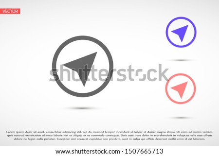 Navigator vector icon. Navigator for ustroystvami icon. Navigator for roads icon. Navigator for trips icon. 10 eps