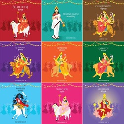 Navratri 9 days 9 goddess garba vector