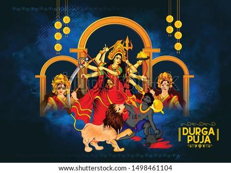 Navratri illustration of Maa Durga in Happy Durga Puja durga face with background Stock photo ©