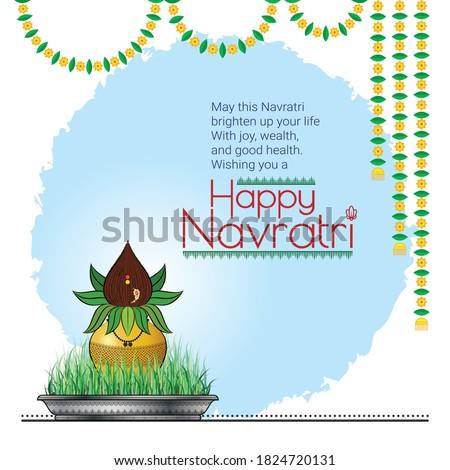 Navratri Kalash Ghatsthapna Shubh Happy Navratri Social Media Post Navratri Festival Worship of Goddess Laxmi, Saraswati, Durga, Amba Text Message Greetings on Occasion of festival for Family friends