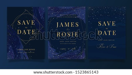 Navy blue and Golden Luxury Wedding Invitation, floral invite thank you, rsvp modern card Design in little star in the dark night sky Vector elegant rustic template