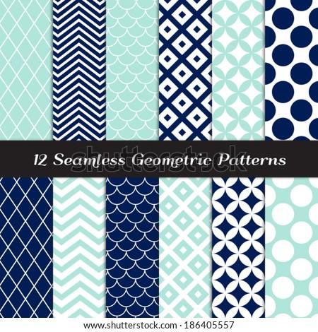 stock-vector-navy-blue-aqua-and-white-retro-geometric-seamless-patterns-nautical-mod-backgrounds-in-jumbo