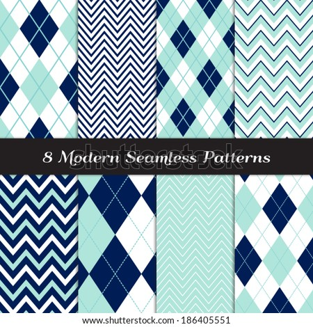 Navy Blue Aqua and White with Dashed Accent Lines Argyle and Chevron Seamless Patterns Navy and Aqua Nautical or Golf Backgrounds Pattern Swatches included and made with Global Colors