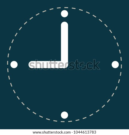 Navy blue clock flat-style icon in rectangle background vector.  Clock icon in trendy flat-style vector illustration. A white clockwise without the border on the navy blue background. Vector clock or