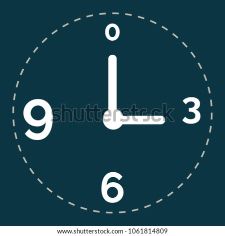 Navy blue clock flat-style icon in rectangle background vector.  Clock icon in trendy flat-style vector illustration. A white clockwise without the border on the navy blue background. Vector clock.