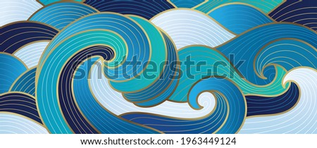 Navy blue Gold abstract wave line arts background vector. Luxury wall paper design for prints, wall arts and home decoration, cover and packaging design. Photo stock ©