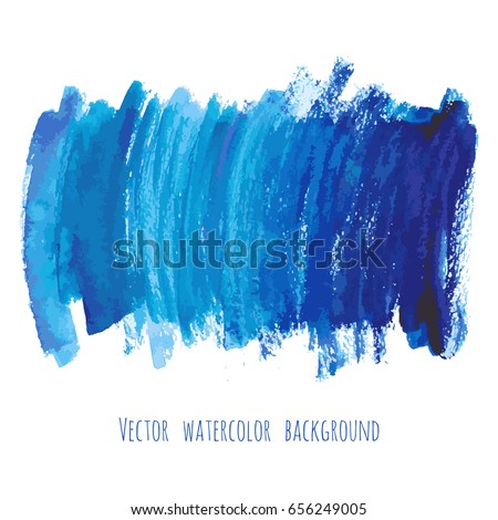 Navy blue, indigo vector watercolor texture background with dry brush stains, strokes and spots isolated on white. Abstract artistic frame, place for text or logo. Acrylic hand painted backdrop.