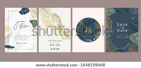 Navy Blue Luxury Wedding Invitation, floral invite thank you, rsvp modern card Design in gold flower with  leaf greenery  branches decorative Vector elegant rustic template