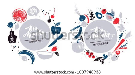 Navy-blue-red colored various of vegetables and fruit in a circle. Autumn crop. Farm market products. Homemade label