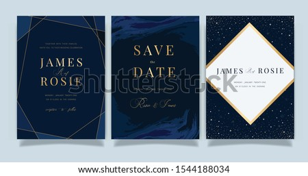 Navy blue Universe Wedding Invitation, universe invite thank you, rsvp modern card Design in little star light in the sky, space Vector elegant rustic template