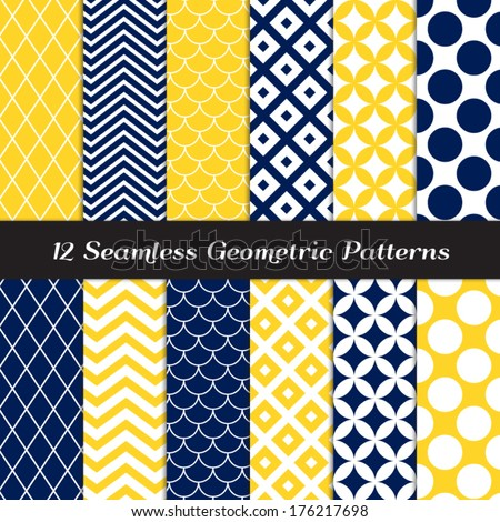 Navy Blue, Yellow and White Retro Geometric Seamless Patterns. Nautical Mod Backgrounds in Jumbo Polka Dot, Diamond Lattice, Scallops, Quatrefoil and Chevron. Pattern Swatches made with Global Colors.
