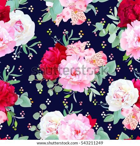 navy floral seamless vector