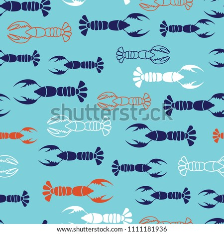Navy, orange, white lobster marine design with blue background. Seamless vector repeat pattern. Great for kids clothing, textiles, card, paper, print, wrapping paper designs. #1111181936