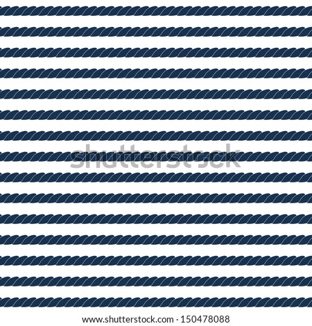 Navy rope striped seamless pattern in blue and white vector