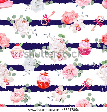 navy striped seamless vector