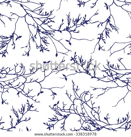 navy tree branches seamless