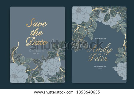 Navy Wedding Invitation, floral invite thank you, rsvp modern card Design in Golden rose with  leaf greenery  branches decorative Vector elegant rustic template