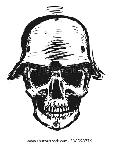 nazi scull in army helmet