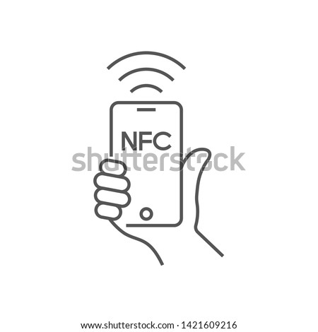 Near field communication, mobile phone with NFC module in hand, payment using smartphone, NFC vector line icon for apps and websites. Editable Stroke. EPS 10